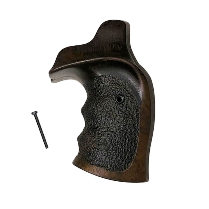 SMITH & WESSON K/L FRAME ROUND BUTT WOODEN GRIPS WITH STIPPLING
